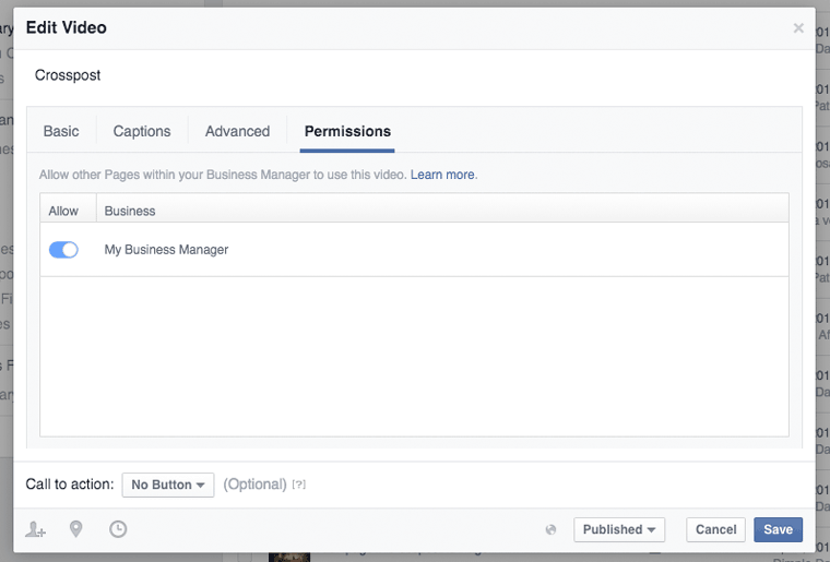 Tutti i video aziendali resi disponibili nel Business Manager di Facebook