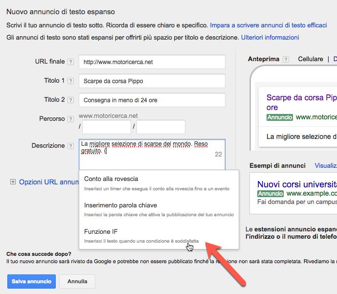IF: la nuova funzione per personalizzare gli annunci AdWords