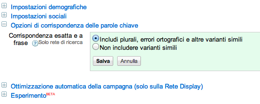 opzioni di corrispondenza delle parole chiave su AdWords