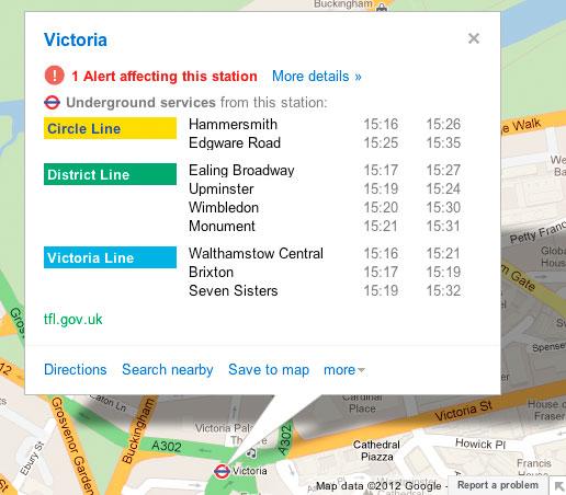 Avvisi in tempo reale sulle condizioni della metropolitana londinese