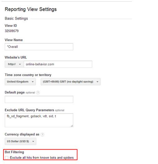 Escludere il traffico generato da bot e spider su Google Analytics