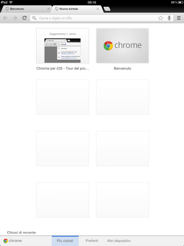 Google Chrome su iPad