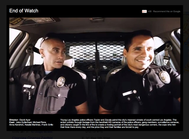 Trailer del film End of Watch sulle SERP di Google