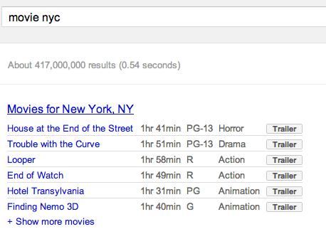 Film in programmazione sulle SERP di Google