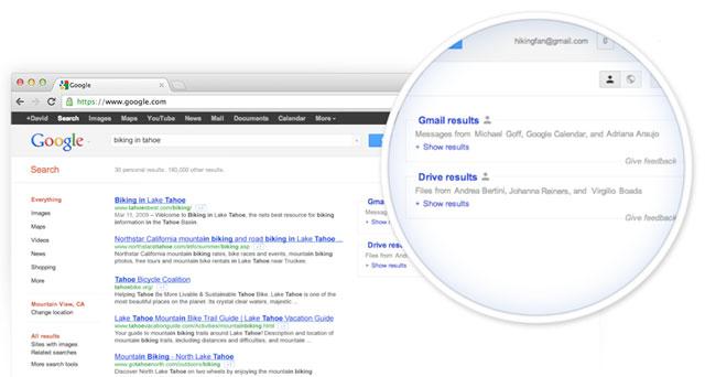I risultati di Gmail e Google Drive sulle SERP