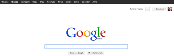 Google con la barra dei menu