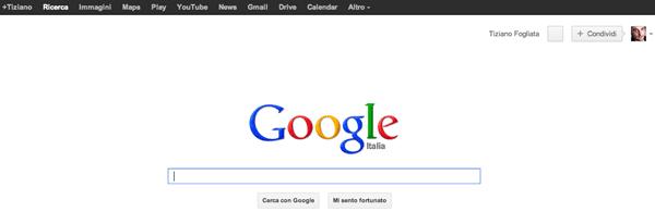 Google con la barra dei menu