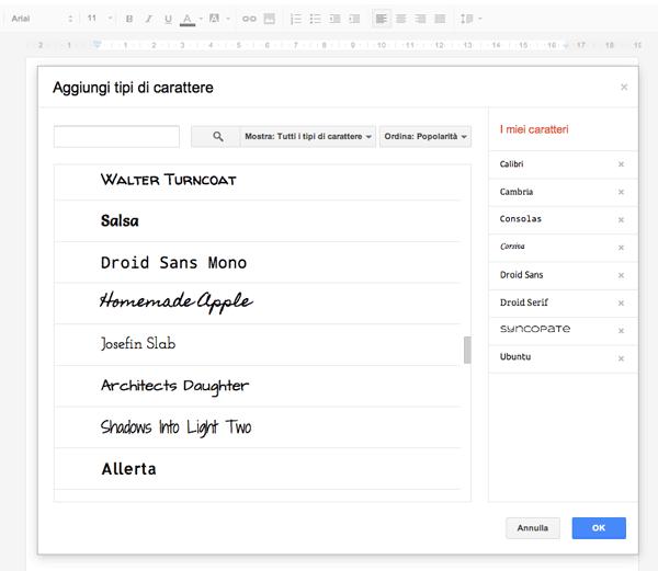 Font disponibili su Google Docs