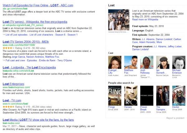 Lost sulle SERP di Google