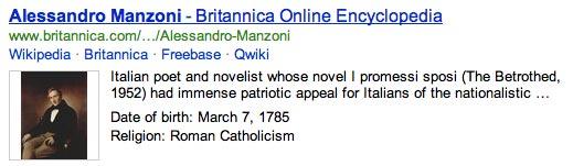 Alessandro Manzoni su Bing