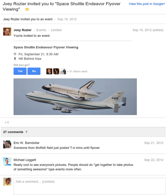 Notifiche degli eventi Google+ su Gmail