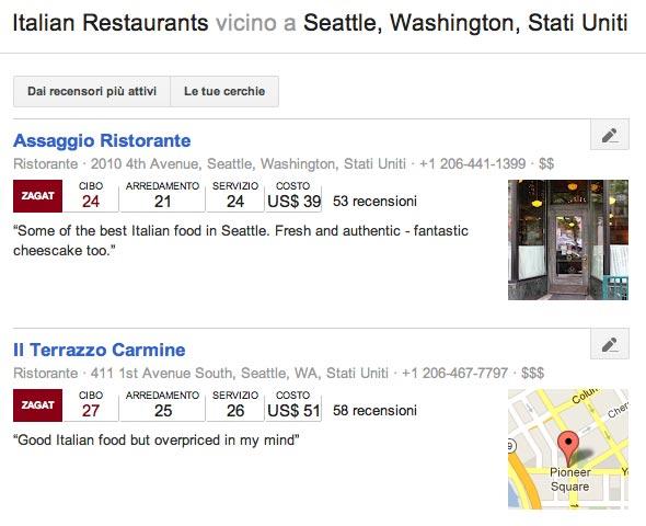 Recensioni ristoranti italiani su Google+ Local
