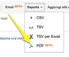 Report di Analytics in formato PDF da scaricare