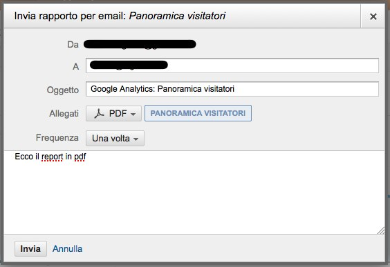 Report di Analytics via email