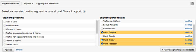 Selezione segmenti personalizzati