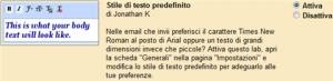 Cambiare lo stile di testo predefinito su Gmail