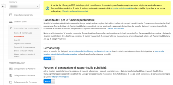 Remarketing cross-device con Google Analytics e adeguamento privacy policy