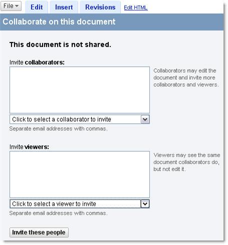 Condivisione con Google Docs & Spreadsheets