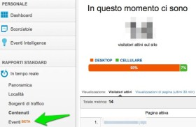 Eventi di Google Analytics in tempo reale