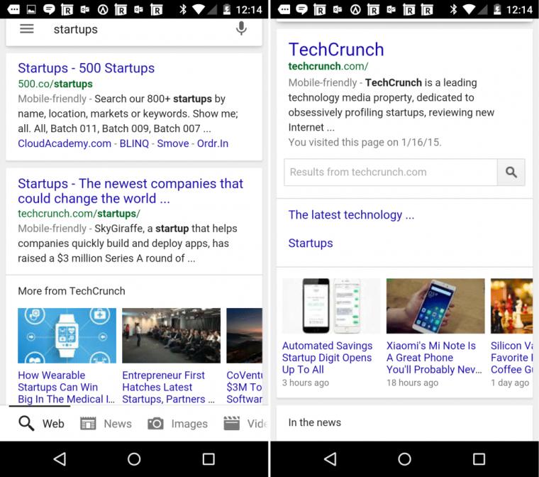 Carosello di notizie sulle SERP di Google