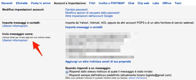 la tua posta su un altro indirizzo email tramite webmail