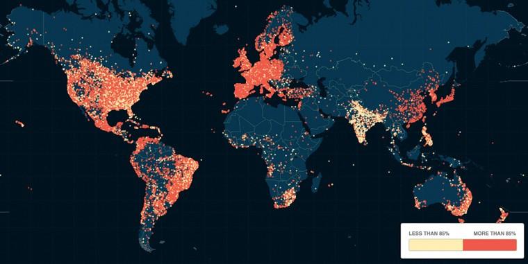 La mappa degli iscritti al sito Ashley Madison
