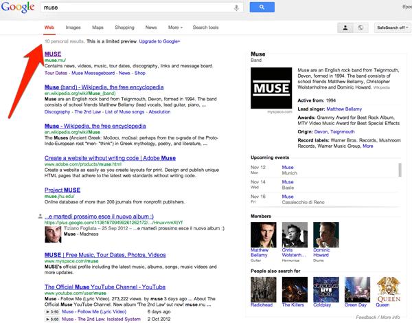 Le nuove SERP di Google per una ricerca sui Muse