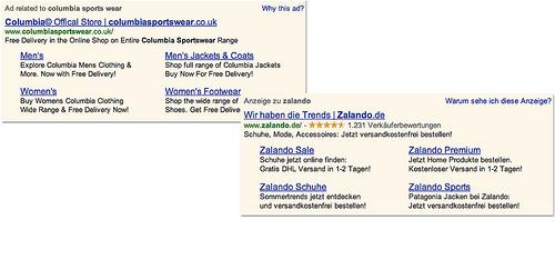 Site links google Adwords