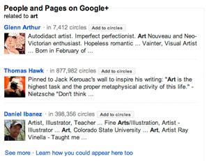 Pagine suggerite da Google+