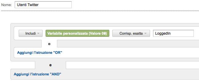 Segmento personalizzato analytics