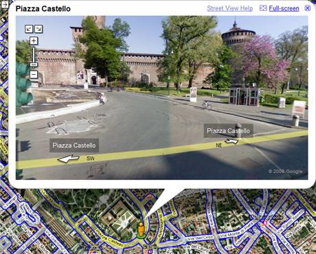 Il Castello Sforzesco visto su Google Street View