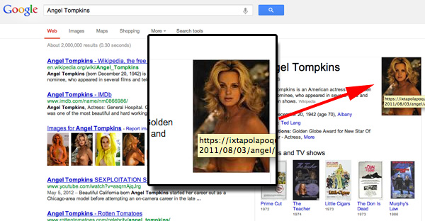Angel Tompkins in topless su Google